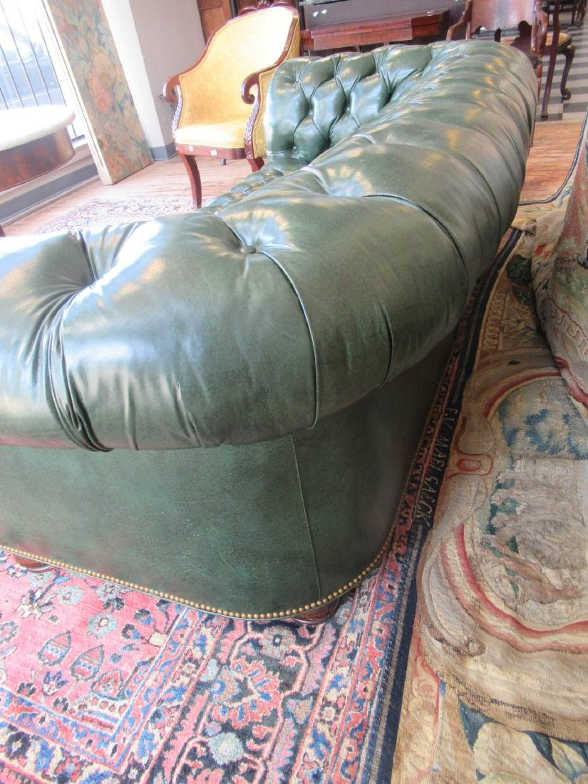 Vintage Green Leather Chesterfield Sofa - 7