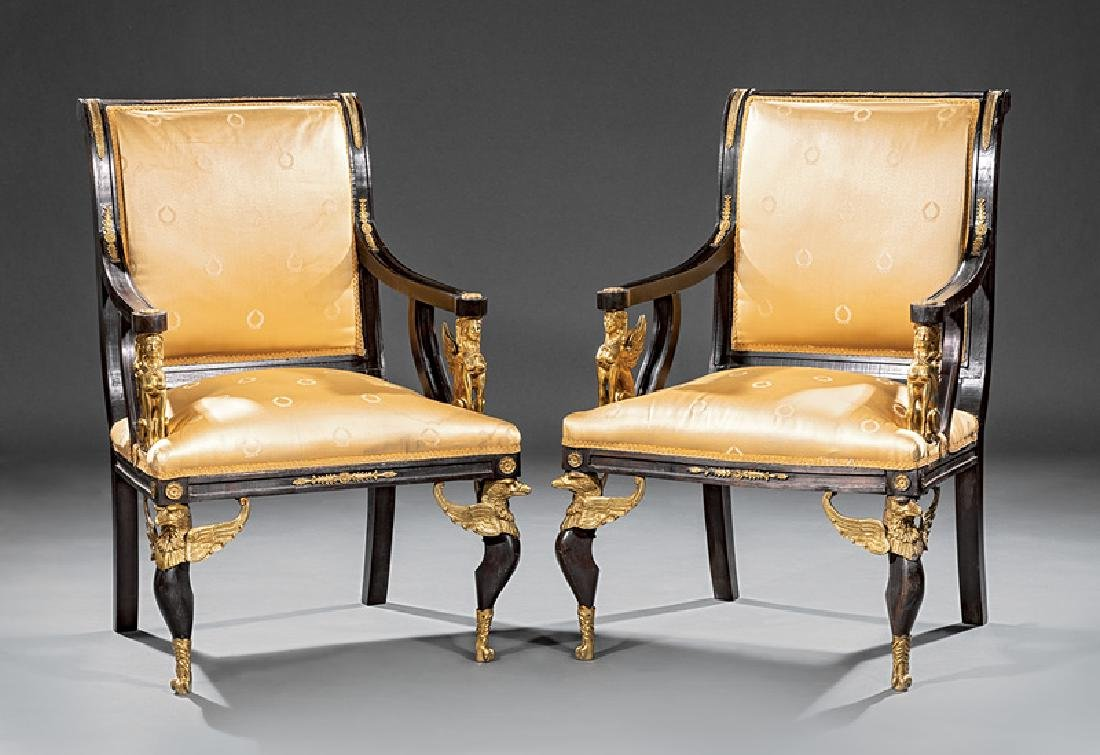 Empire-Style Bronze-Mounted Mahogany Fauteuils