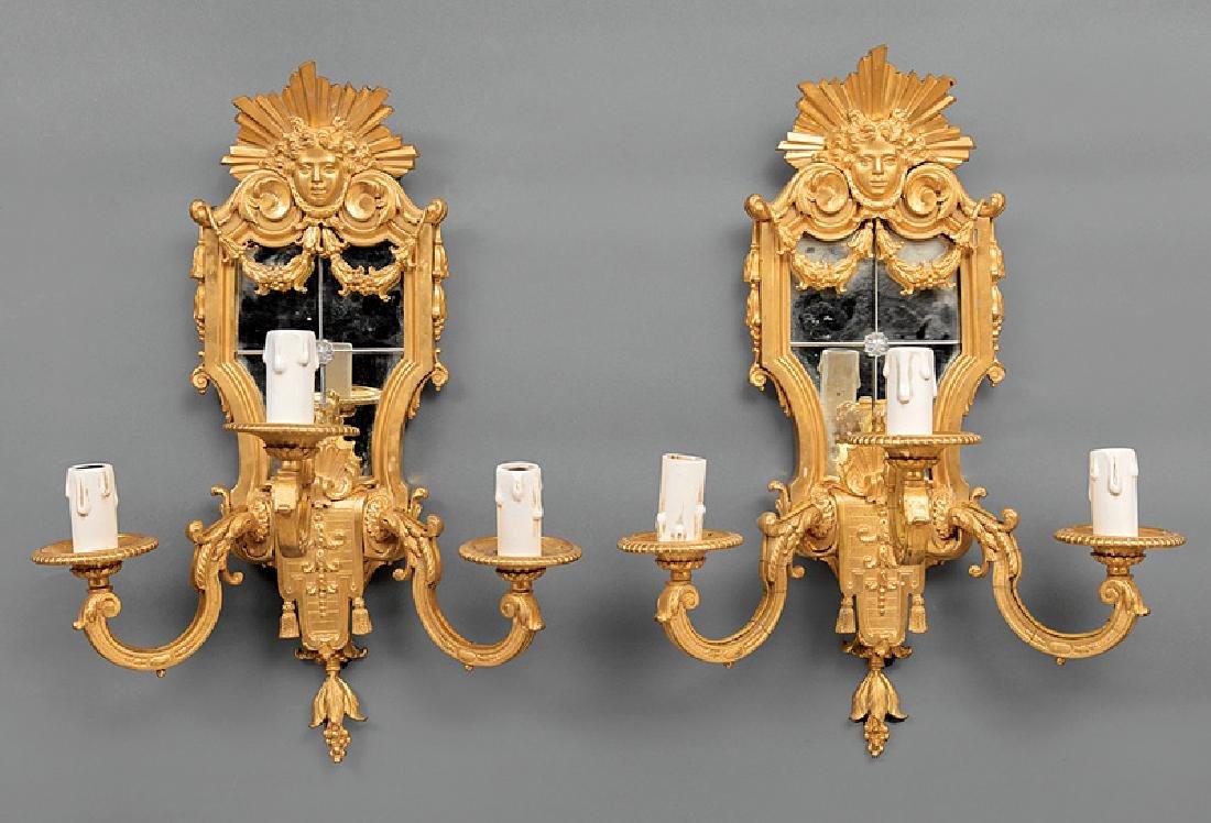 Regence-Style Gilt Bronze Mirrored Sconces