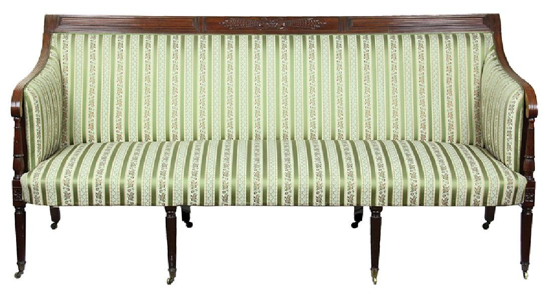 American Federal Carved Mahogany Sofa - 2