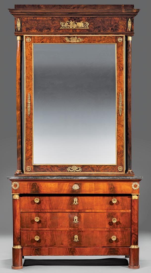 Bronze-Mounted Mahogany Commode and Mirror