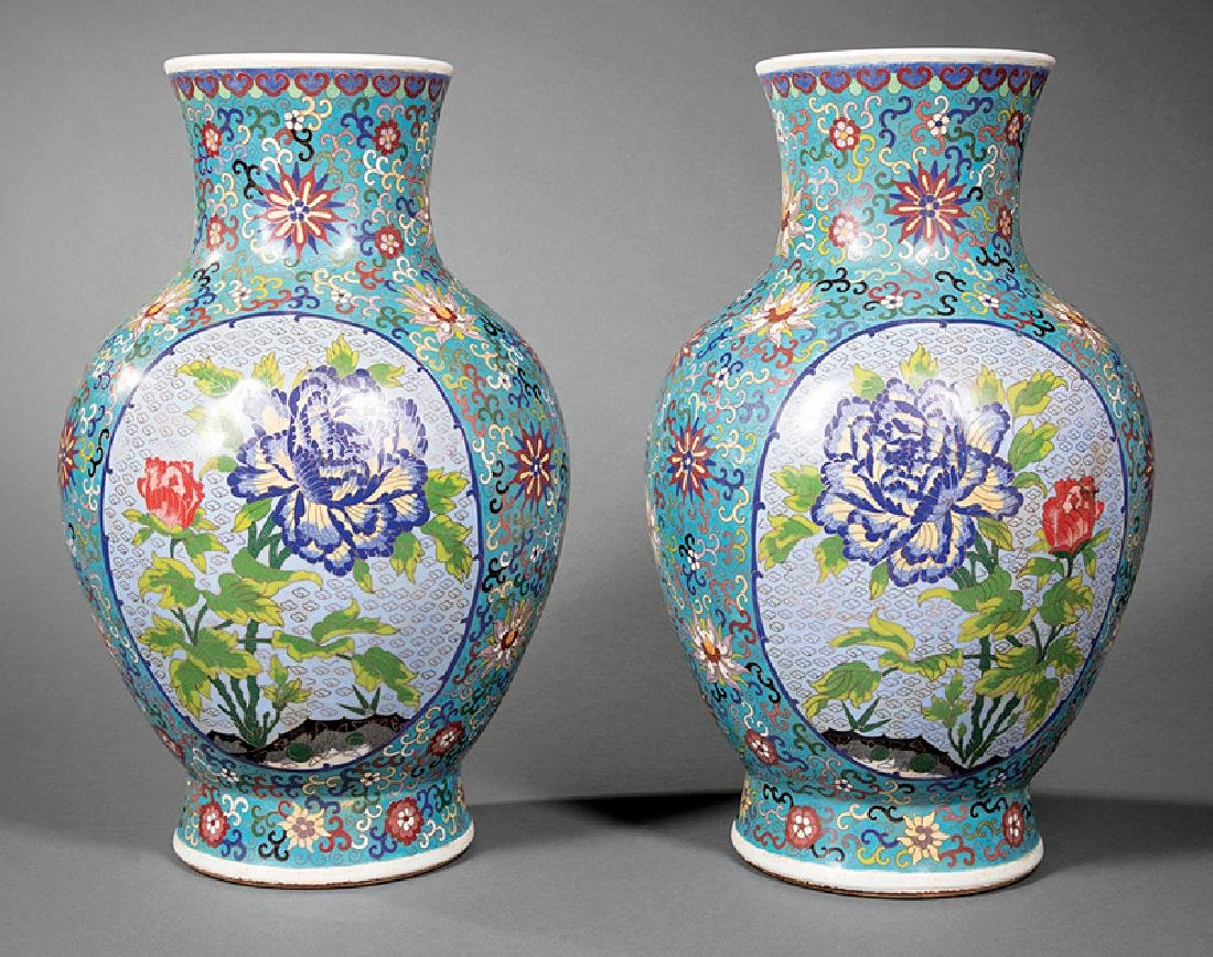 Pair of Chinese Cloisonné-Over-Porcelain Vases