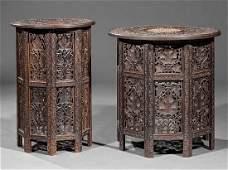 Two AngloIndian CarvedInlaid Hardwood Tabourets