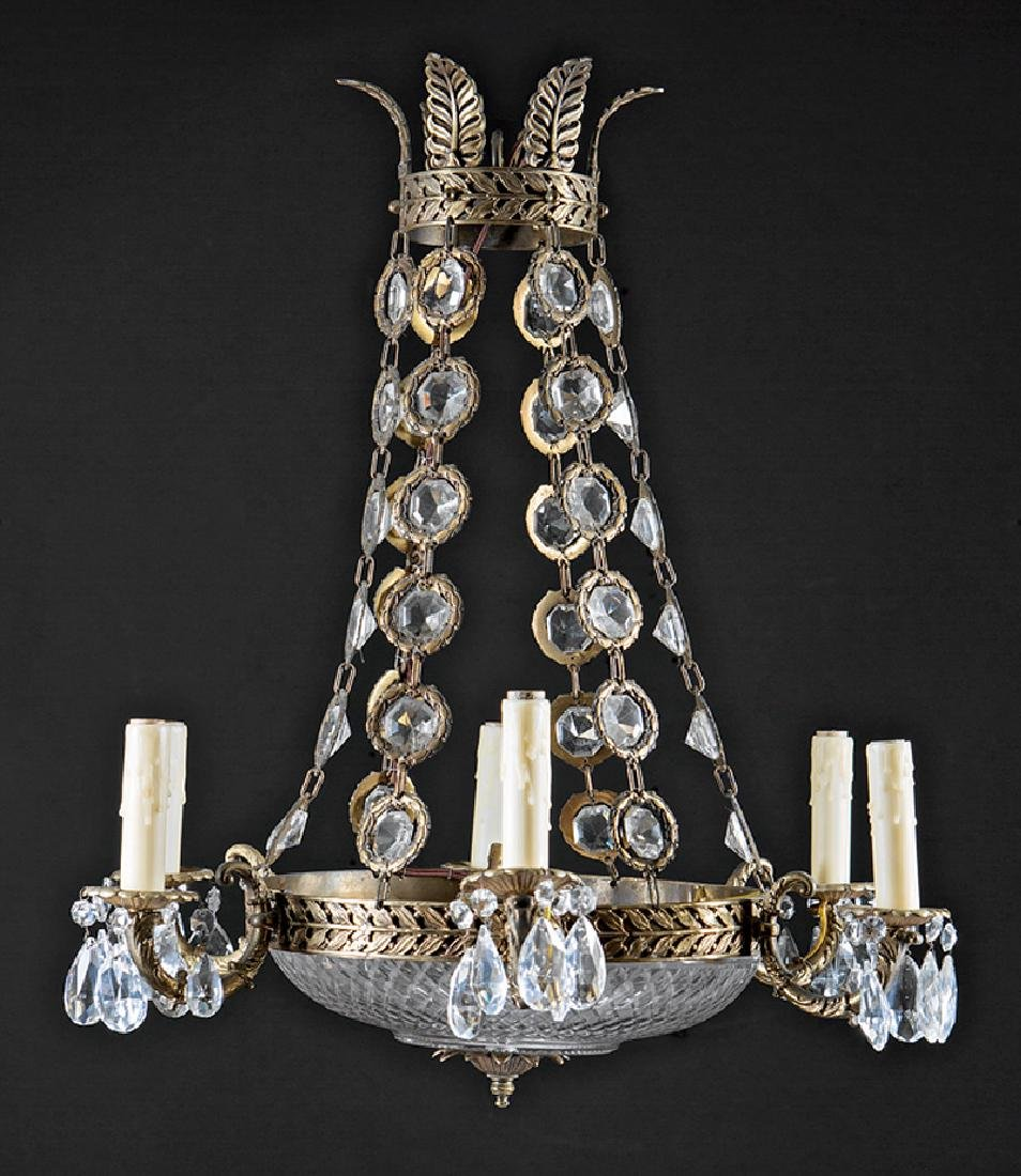Empire-Style Gilt Bronze and Crystal Chandelier