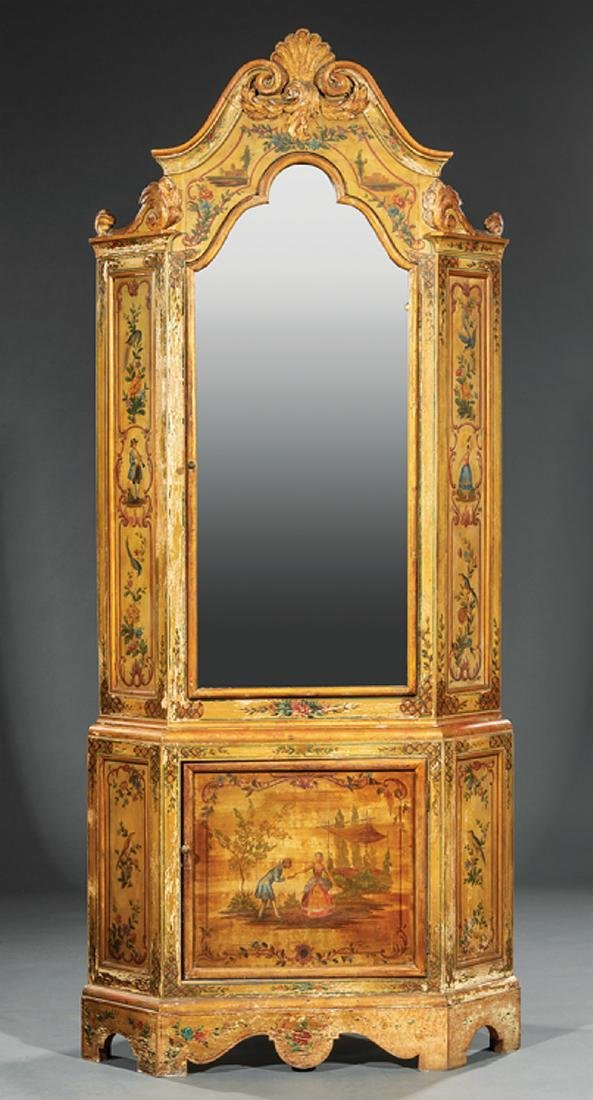 Venetian-Style Paint-Decorated Corner Cabinet