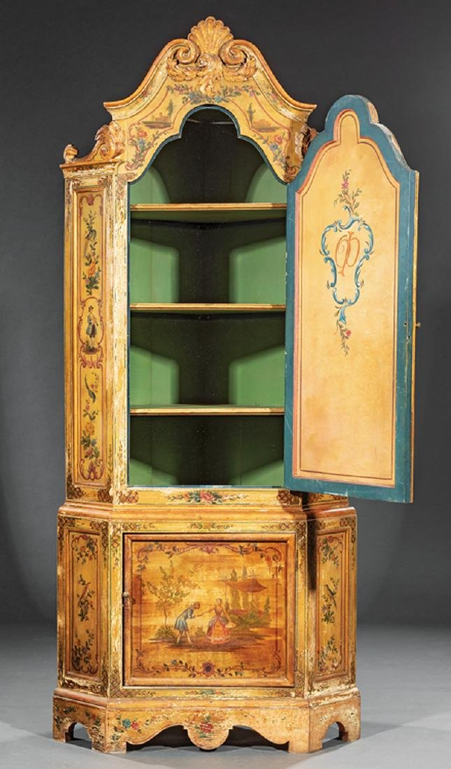 Venetian-Style Paint-Decorated Corner Cabinet - 2