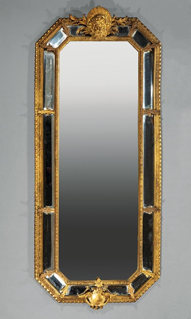 Pair Louis-XVI Style Bronze Dore Cushion Mirrors