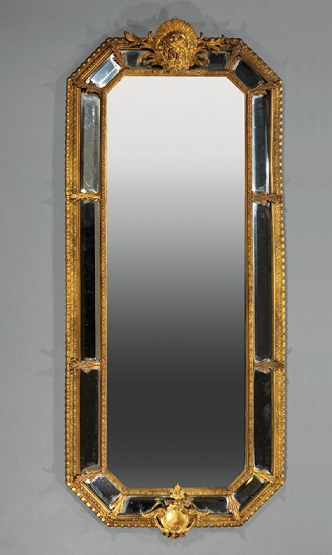Pair Louis-XVI Style Bronze Dore Cushion Mirrors - 2