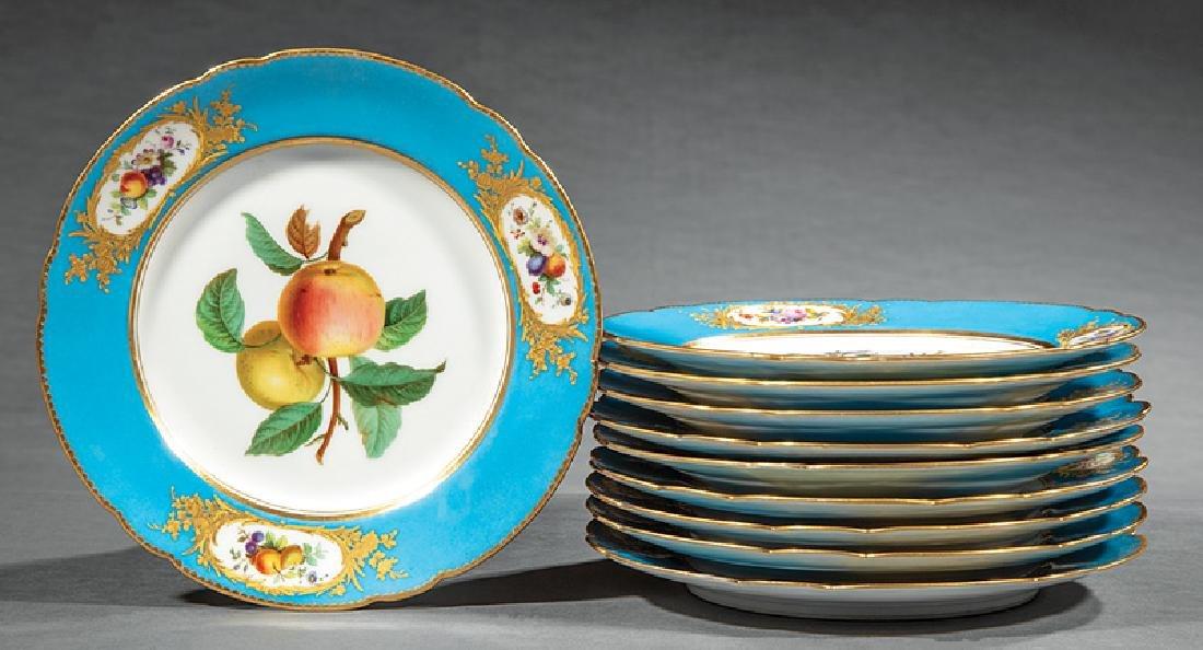 Set of Ten Paris Porcelain Fruit Plates