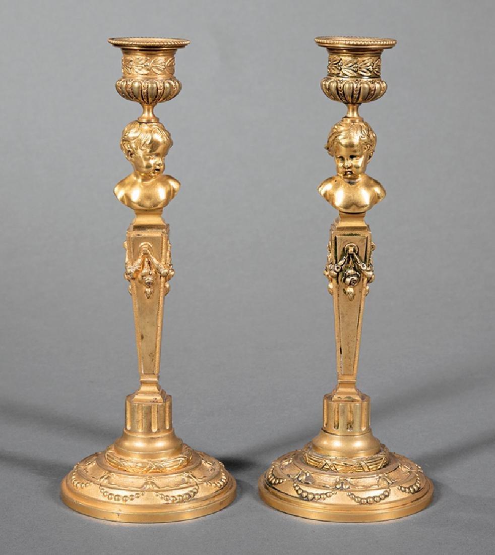 Pair of Napoleon III Bronze Figural Candlesticks