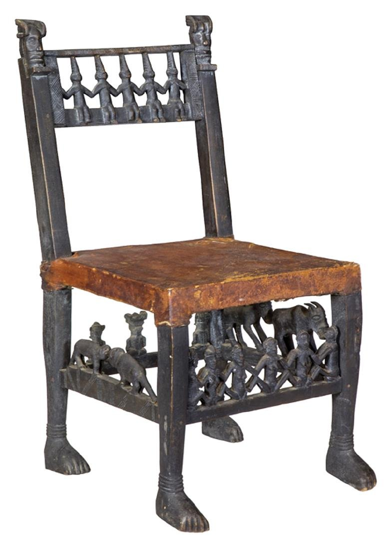 African Carved Figural Chair