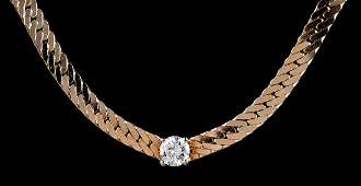 14 kt. Yellow Gold and Full-Cut Diamond Necklace