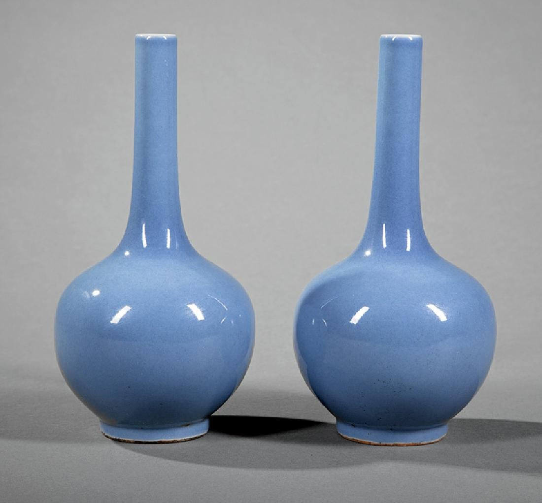 Chinese Powder Blue Porcelain Bottle Vases