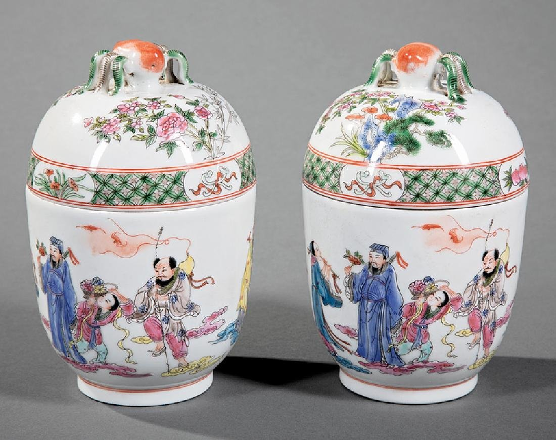 Chinese Famille Rose Porcelain Covered Jars