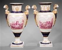 Pair of Sèvres-Style Porcelain Vases