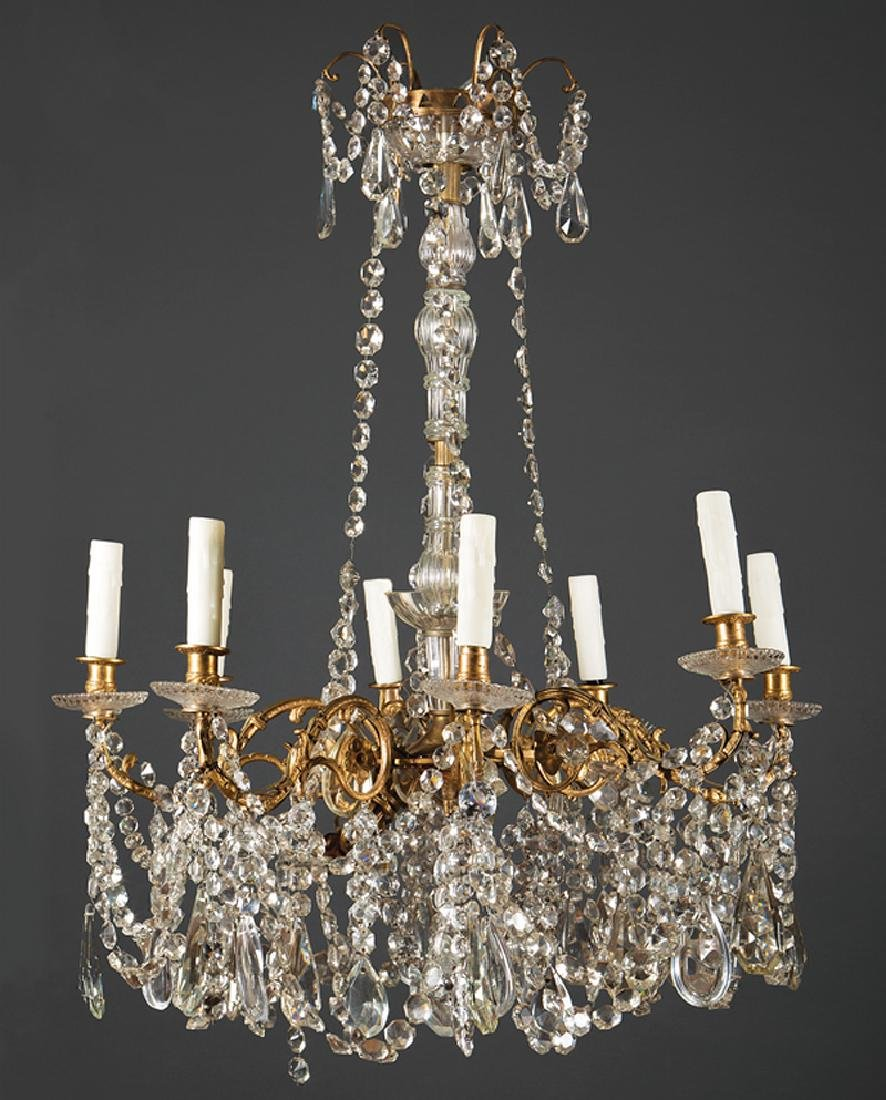 Baccarat-Style Bronze and Crystal Chandelier