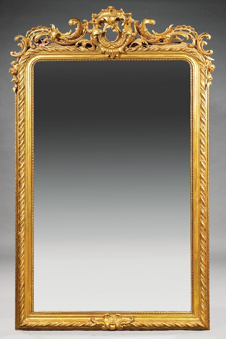 Pair of Continental Rococo-Style Giltwood Mirrors