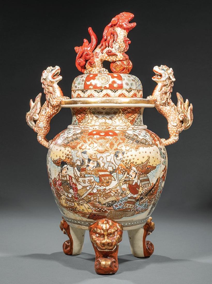 Japanese Satsuma Pottery Covered Tripod Koro