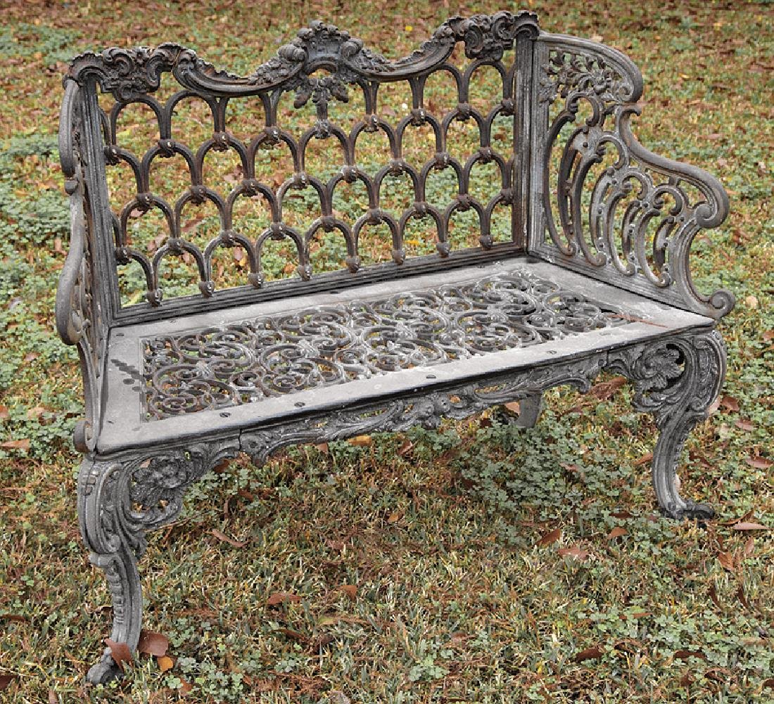 "American Cast Iron ""Gothic"" Pattern Bench"