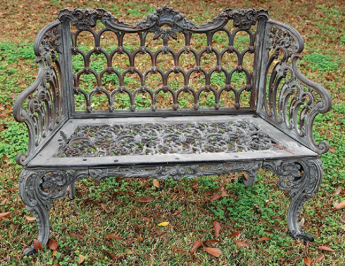 "American Cast Iron ""Gothic"" Pattern Bench - 2"