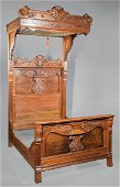 Carved and Burled Walnut Four Piece Bedroom Suite