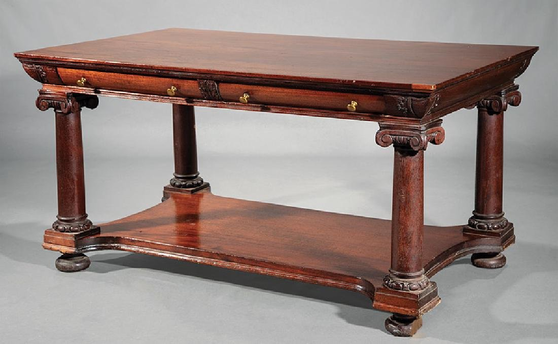 Late Classical Carved Mahogany Library Table
