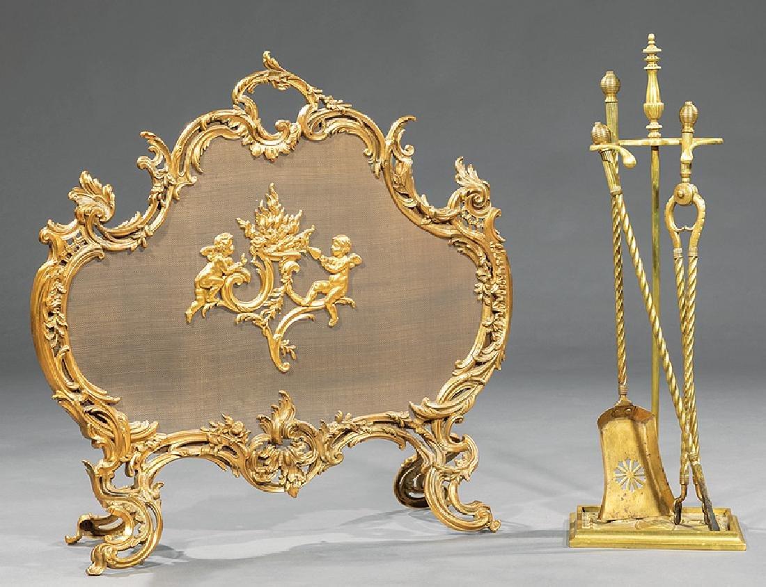 Louis XVI-Style Gilt Bronze Fire Screen