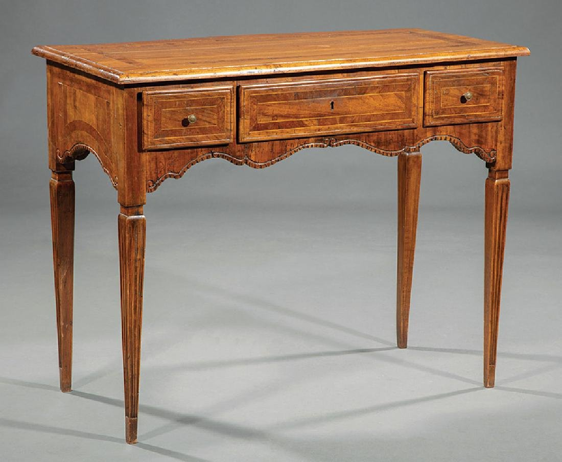 Continental Inlaid Fruitwood Writing Table