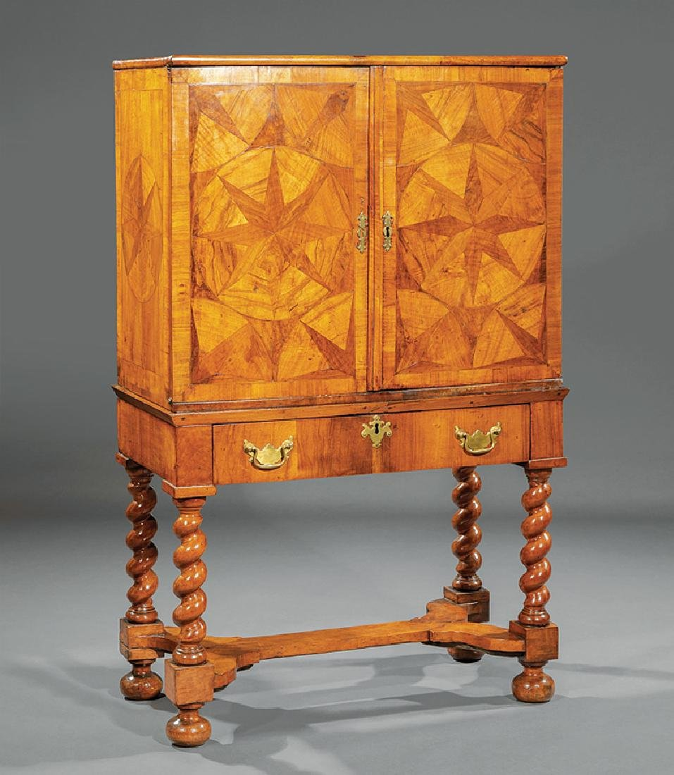Compass Star Inlaid Walnut Cabinet on Stand