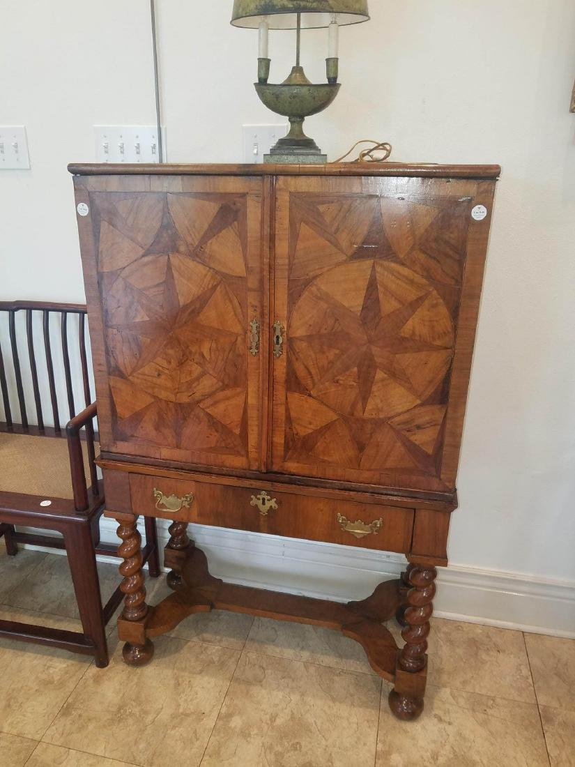 Compass Star Inlaid Walnut Cabinet on Stand - 3