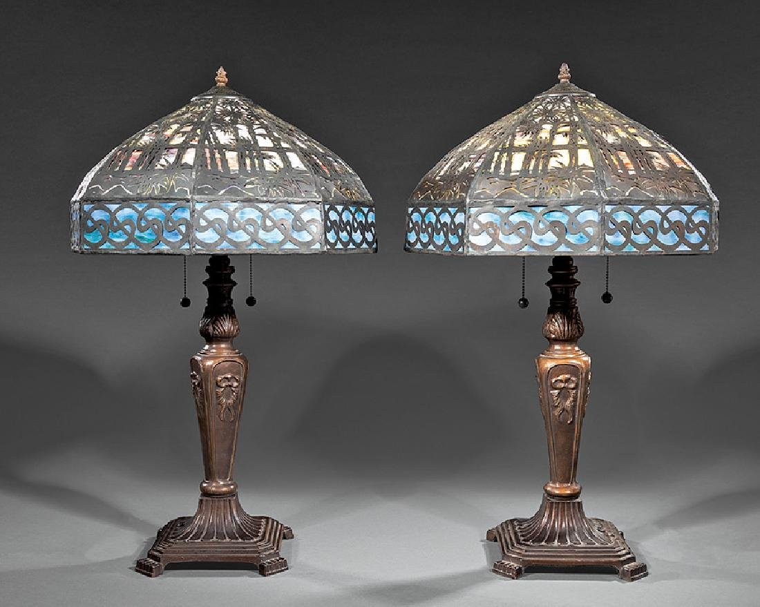 Pair of Bronzed Metal and Slag Glass Lamps