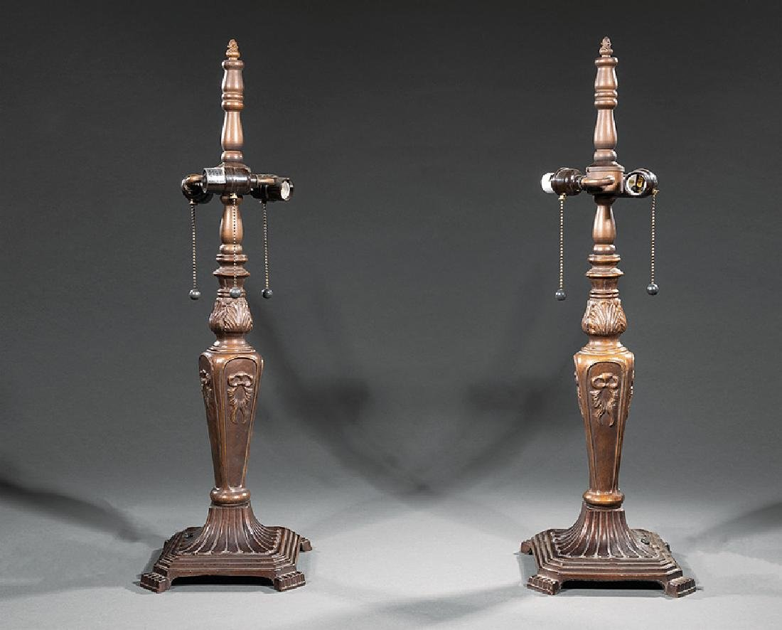 Pair of Bronzed Metal and Slag Glass Lamps - 2