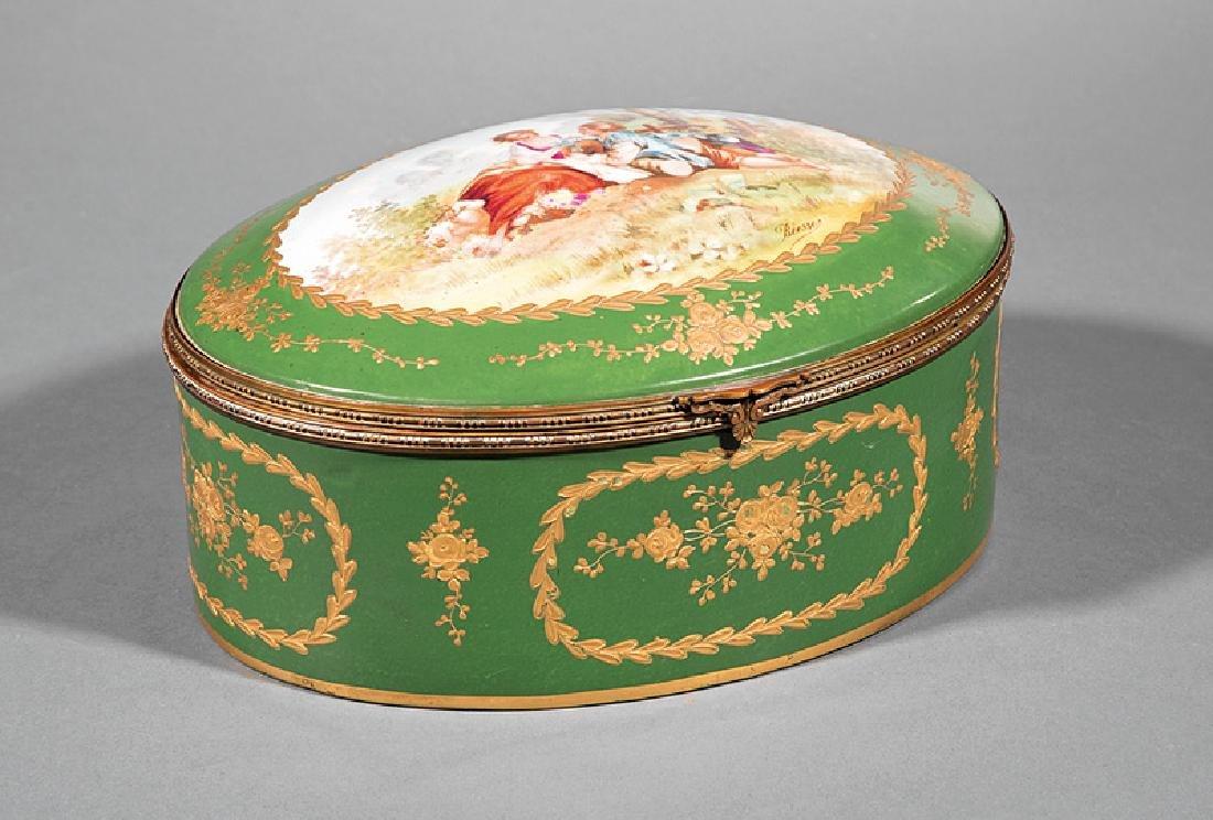 Limoges Polychrome and Gilt Porcelain Dresser Box