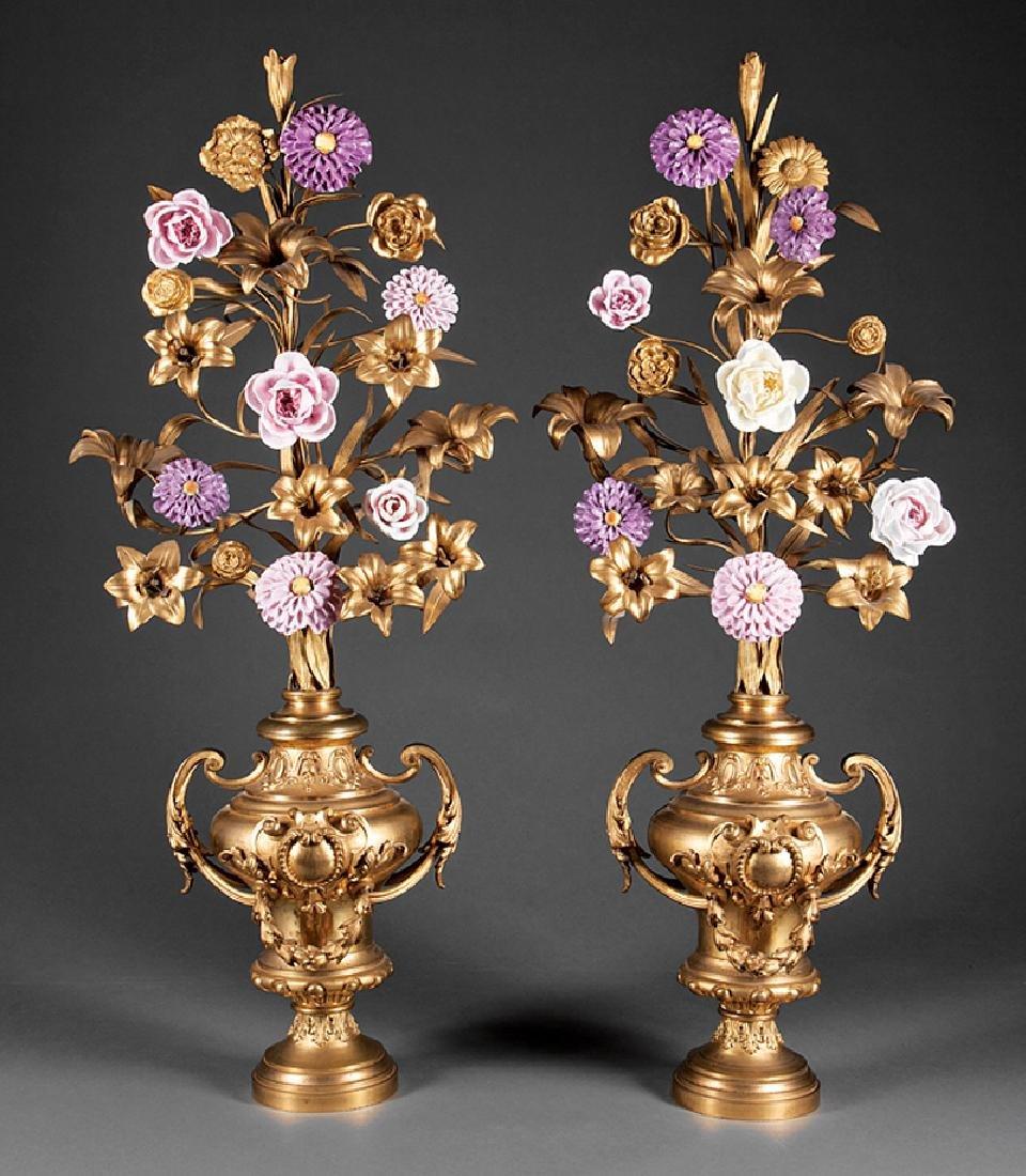 Pair of Beaux Arts Bronze Urns
