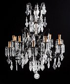 Patinated Bronze and Crystal Chandeliers