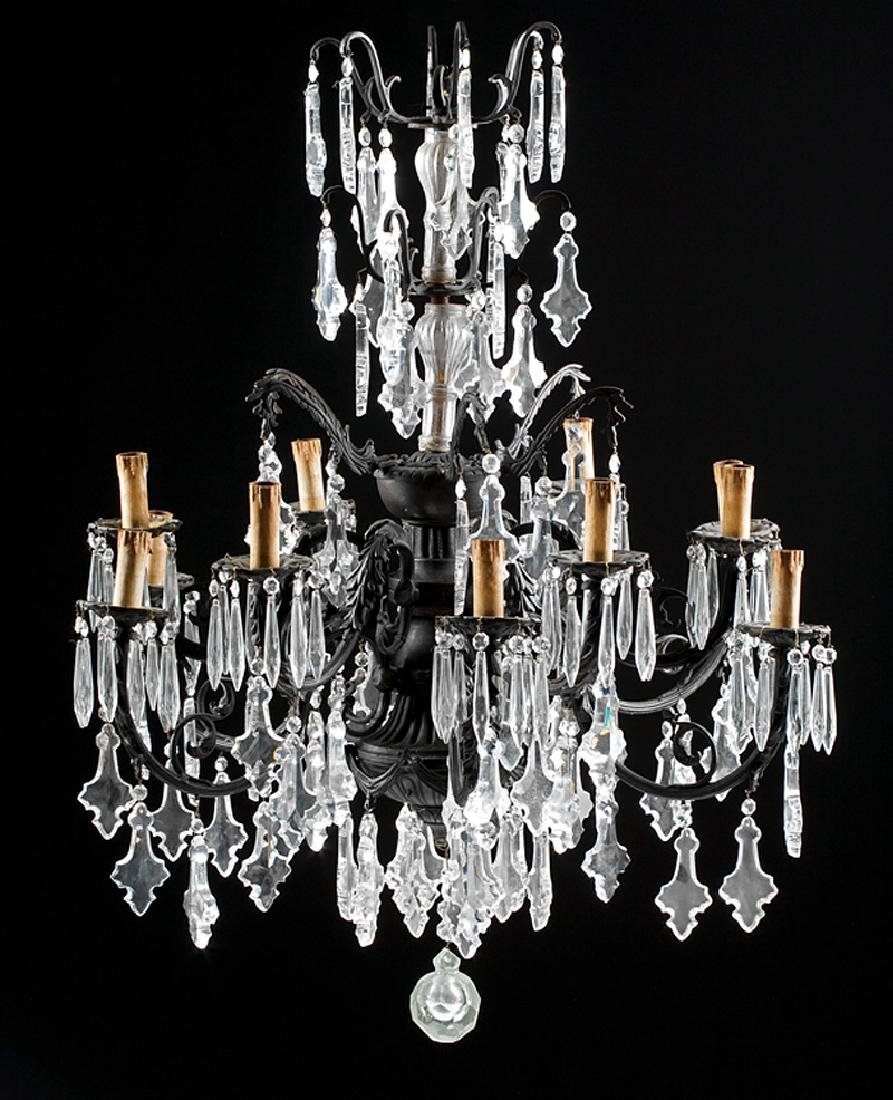 Patinated Bronze and Crystal Chandeliers - 2