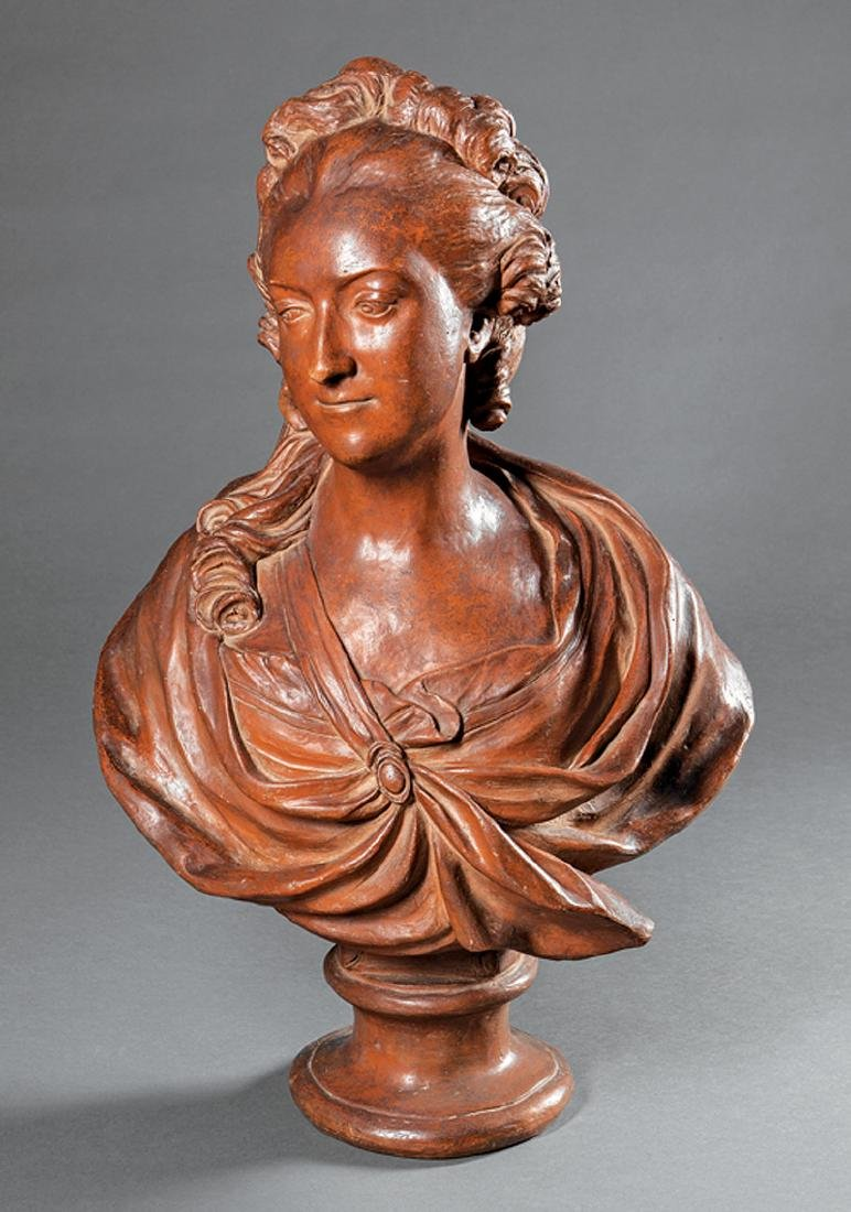 French Terracotta Bust of Mary Antoinette