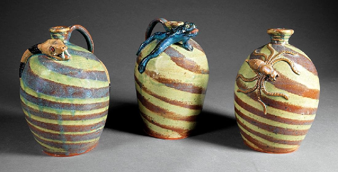 Folk Art Stoneware Figural Jugs by A Hodge