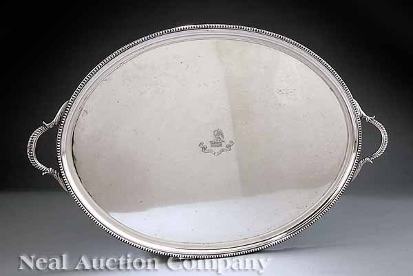 0001: Large English Silverplate Oval Tray