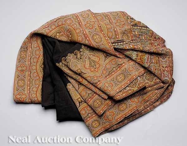 0002: English Victorian Wool Oblong Paisley Shawl