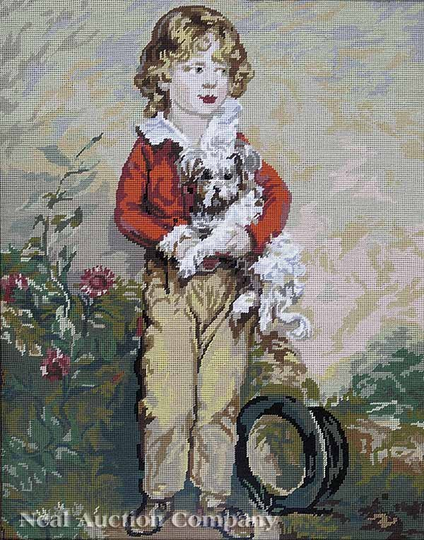 0003: Needlepoint Panel of a Lad Holding a Spaniel