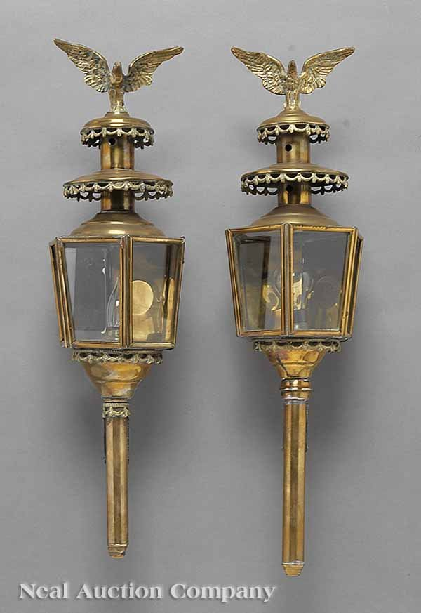 0004: Pair of Vintage Brass Carriage Lamps