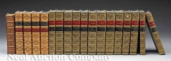 0011: 18 Leather-Books, Various Authors,  c. 1865