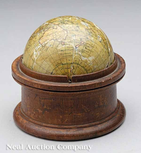 0013: Antique English Three-Inch Pocket Globe, Malby's