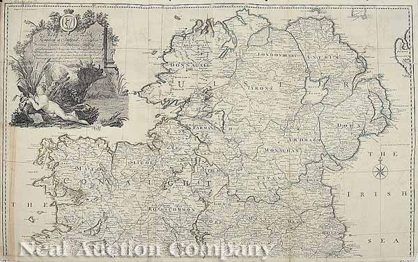 0017: John Rocque,  Map of Ireland, Engraved, 1780