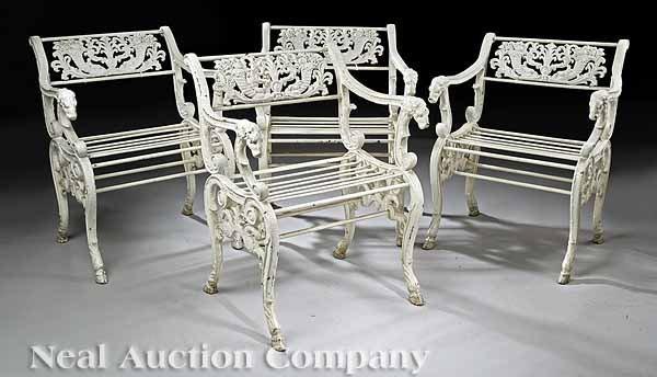 0019: Set of Four Regency Cast Iron Armchairs
