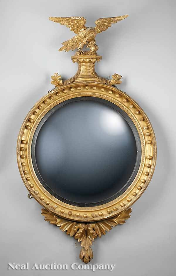 0021: Regency Carved and Gilded Convex Mirror