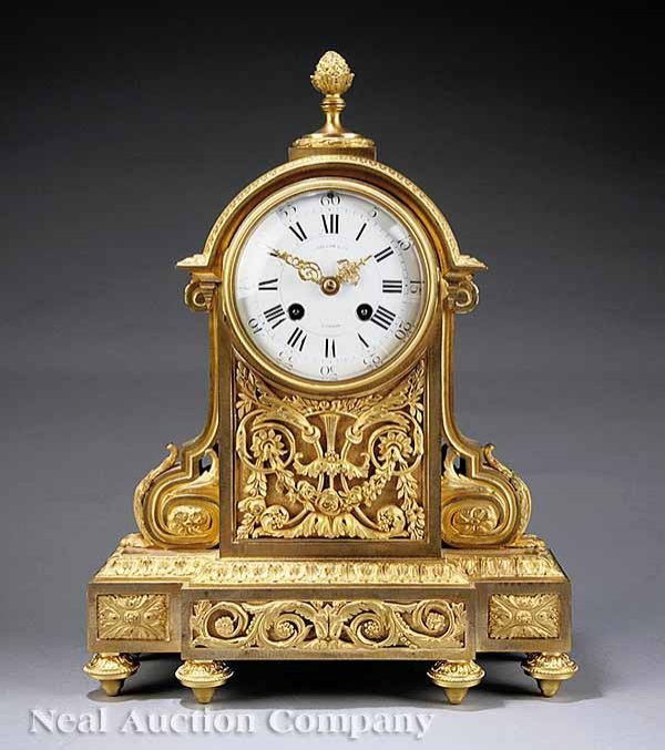 0022: French Gilt Bronze Mantel Clock, Paillard, Paris