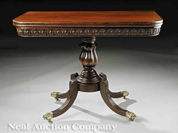 0024: Late Federal Carved Mahogany Games Table, Boston