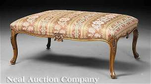 0037: Large Louis XV-Style Carved Walnut Bench